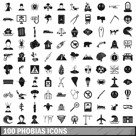 100 phobias icons set, simple style Фото со стока