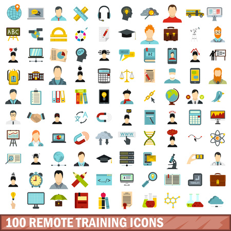 100 remote training icons set, flat style