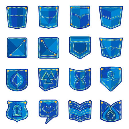 Pocket design icons set, flat style Stock Photo