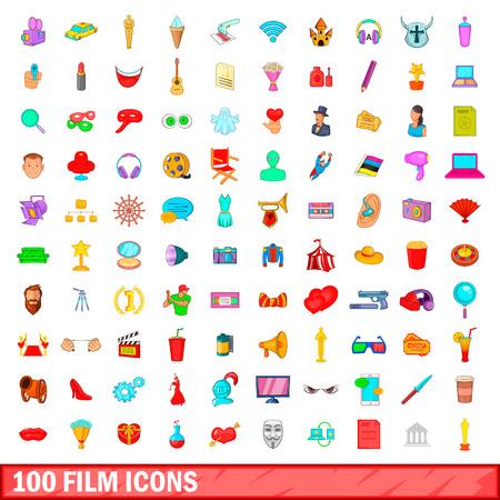 100 film icons set, cartoon style
