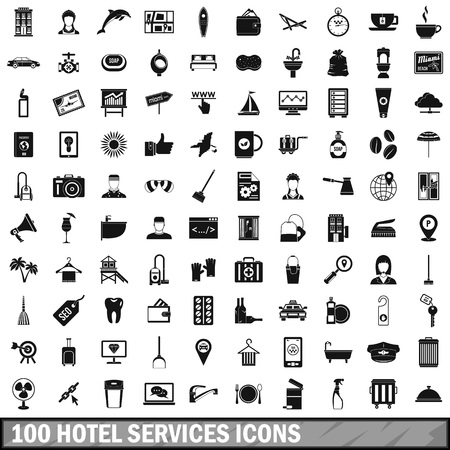 100 hotel services icons set, simple style