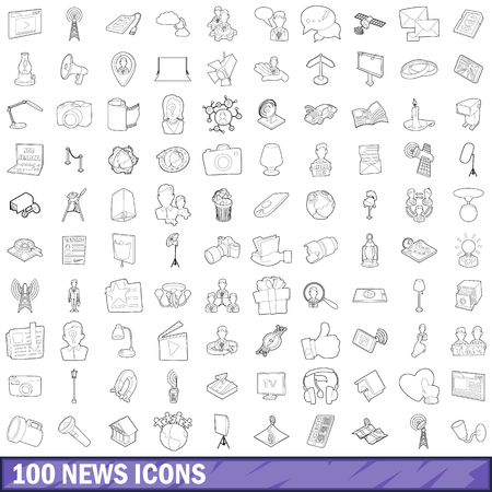 100 news icons set, outline style Archivio Fotografico