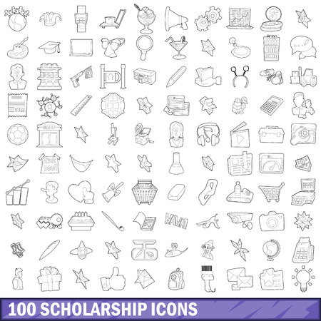 100 scholarship icons set, outline style Stock Photo