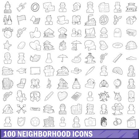 100 neighborhood icons set, outline style