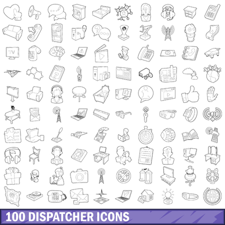 100 dispatcher icons set, outline style Stock Photo