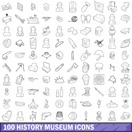 100 history museum icons set, outline style