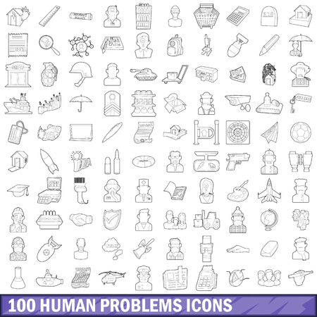 100 human problems icons set, outline style Banco de Imagens - 110435783