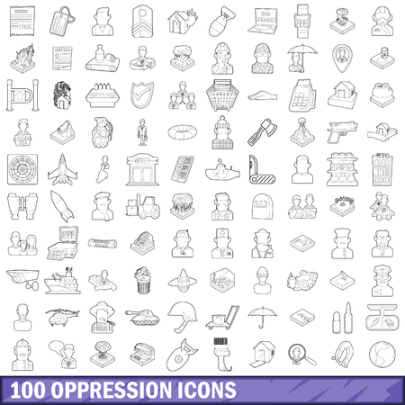 100 oppression icons set, outline style