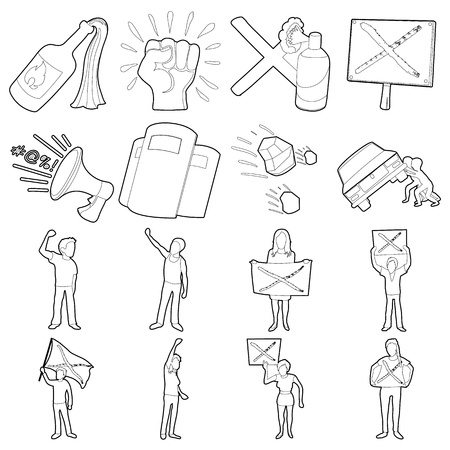 Protest items icons set, outline style Stock Photo