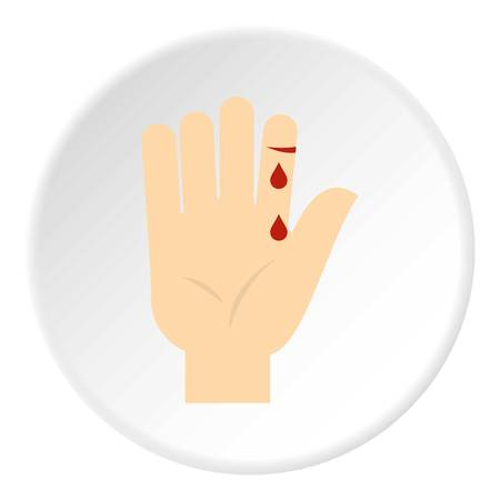 Bleeding human thumb icon circle