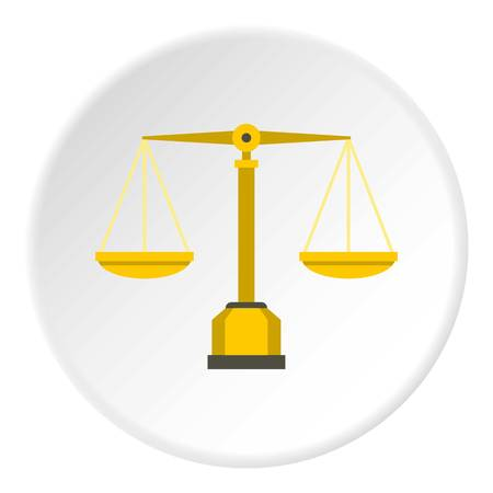 Gold scales of justice icon circle