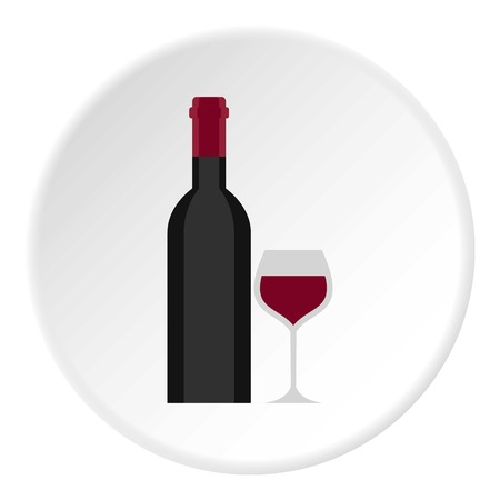 Bottle and glass icon circle