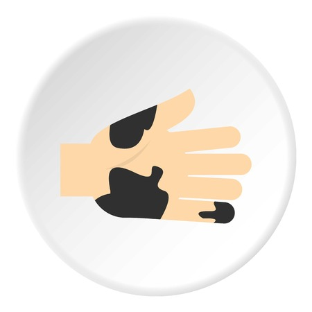 Hand with dirty stains icon circle