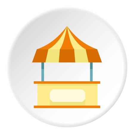 Shopping counter orange with tent icon circle