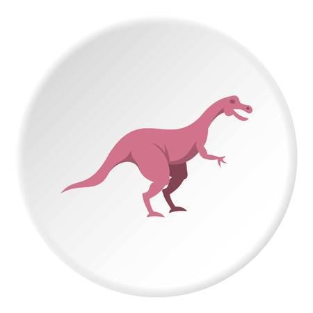 Pink hypsilophodon dinosaur icon circle