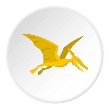 Yellow pterosaurs dinosaur icon circle