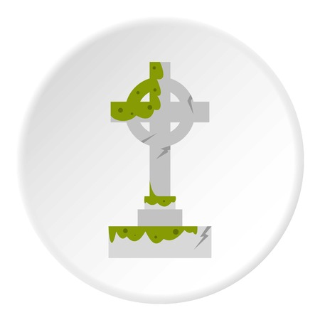 Irish celtic cross with green slime icon circle