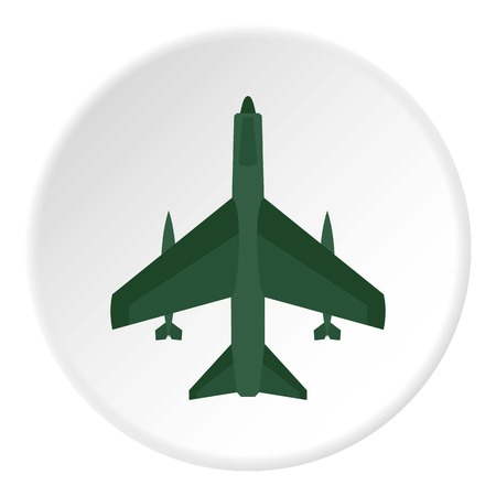 Aircraft with missiles icon circle