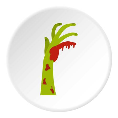Zombie green bloody hand icon circle