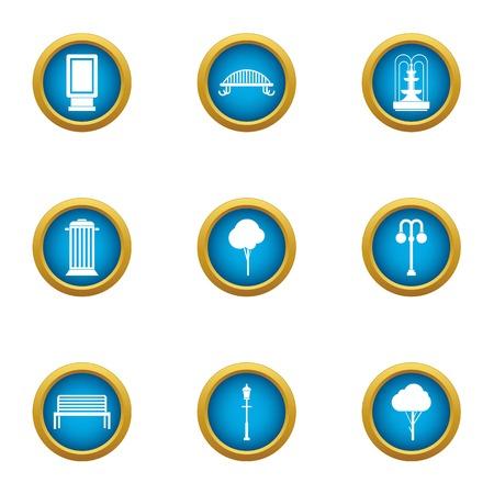 Public horticultural icons set. Flat set of 9 public horticultural vector icons for web isolated on white background 일러스트