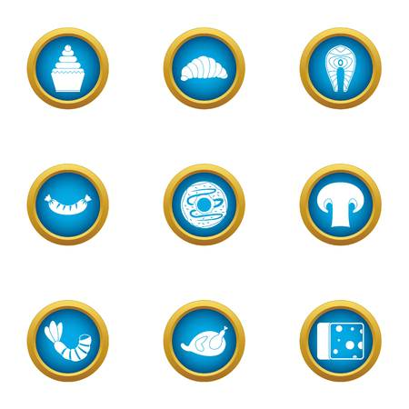 Late breakfast icons set. Flat set of 9 late breakfast vector icons for web isolated on white background 写真素材 - 130232043