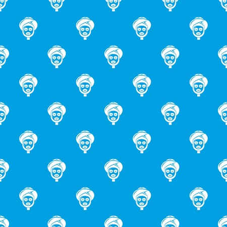 Facial spa treatment pattern vector seamless blue repeat for any use Illustration