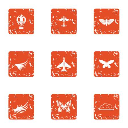 Aviation center icons set. Grunge set of 9 aviation center vector icons for web isolated on white background