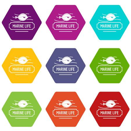 Marine life icons 9 set coloful isolated on white for web Vector Illustration