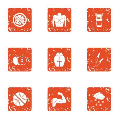 Committed icons set. Grunge set of 9 committed vector icons for web isolated on white background 일러스트
