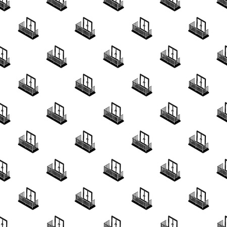 Balcony with metal fencing pattern vector seamless repeating for any web design