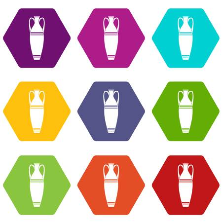 Vase icons 9 set coloful isolated on white for web