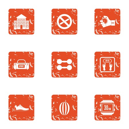 Running distance icons set. Grunge set of 9 running distance vector icons for web isolated on white background 일러스트