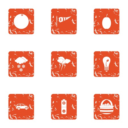 Situation icons set. Grunge set of 9 situation vector icons for web isolated on white background