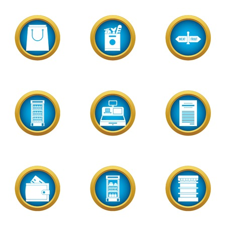 Money package icons set. Flat set of 9 money package vector icons for web isolated on white background 일러스트