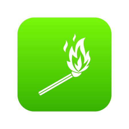 Match flame icon digital green for any design isolated on white vector illustration