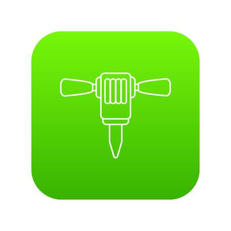 Mining hammer drill icon green vector