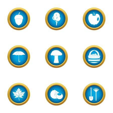 Rainy day icons set. Flat set of 9 rainy day vector icons for web isolated on white background Ilustração