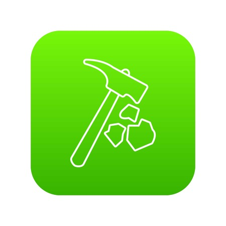 Minning hand hammer icon green vector isolated on white background