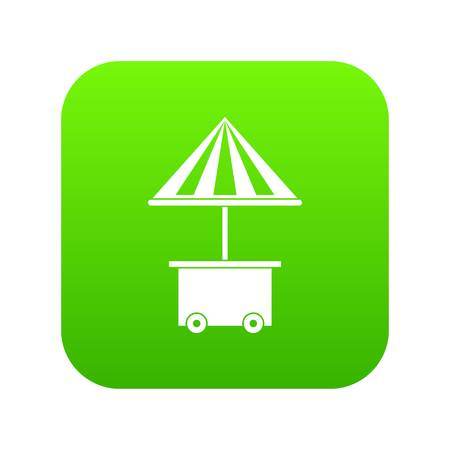 Mobile cart with umbrella for sale food icon digital green for any design isolated on white vector illustration 向量圖像