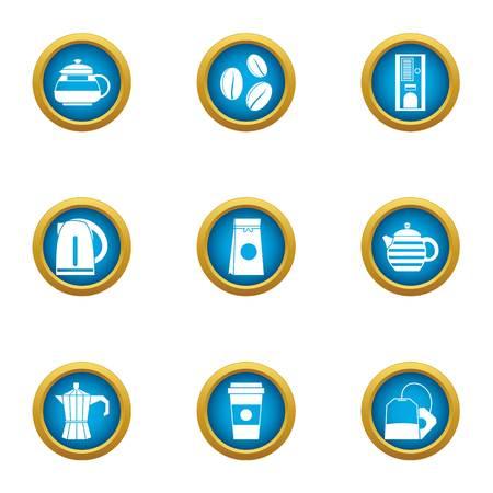 Transferring tea icons set. Flat set of 9 transferring tea vector icons for web isolated on white background Illusztráció
