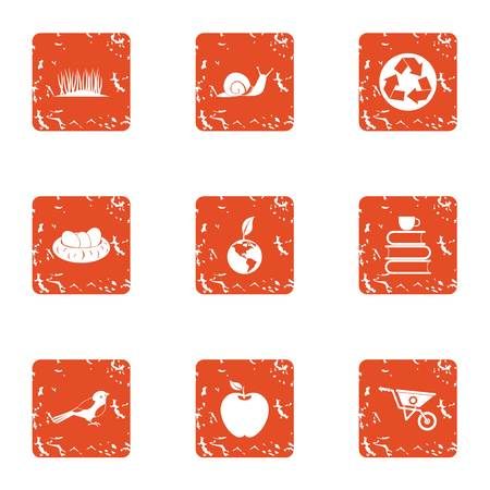 Innate icons set. Grunge set of 9 innate vector icons for web isolated on white background