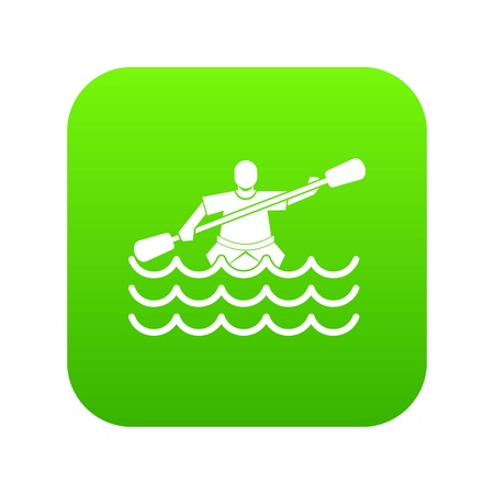 Male athlete in a canoe icon digital green for any design isolated on white vector illustration