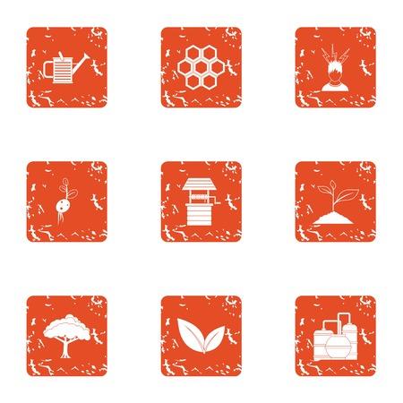 Bee plantation icons set. Grunge set of 9 bee plantation vector icons for web isolated on white background