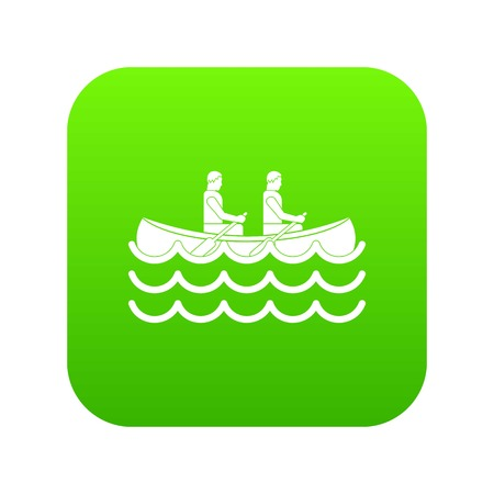 Canoeing icon digital green for any design isolated on white vector illustration
