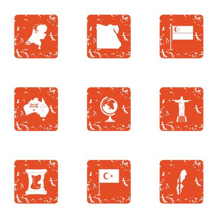 Warm meeting icons set. Grunge set of 9 warm meeting vector icons for web isolated on white background Illusztráció