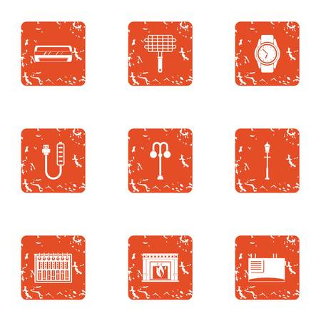 Home grill icons set. Grunge set of 9 home grill vector icons for web isolated on white background