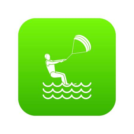 Man takes part at kitesurfing icon digital green for any design isolated on white vector illustration Illustration