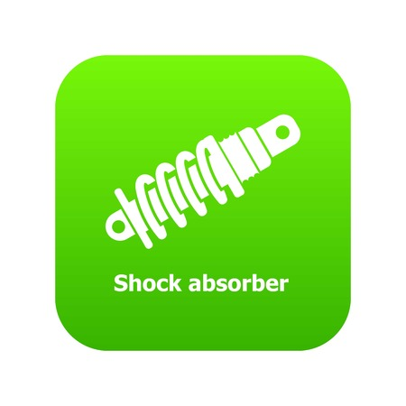 Shock absorber icon green vector isolated on white background