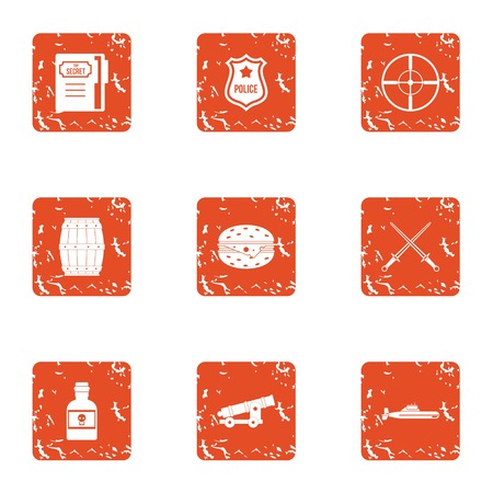 Police control icons set. Grunge set of 9 police control vector icons for web isolated on white background