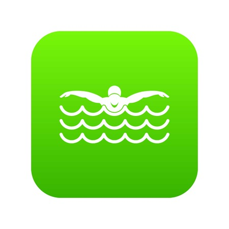 Butterfly swimmer icon digital green for any design isolated on white vector illustration